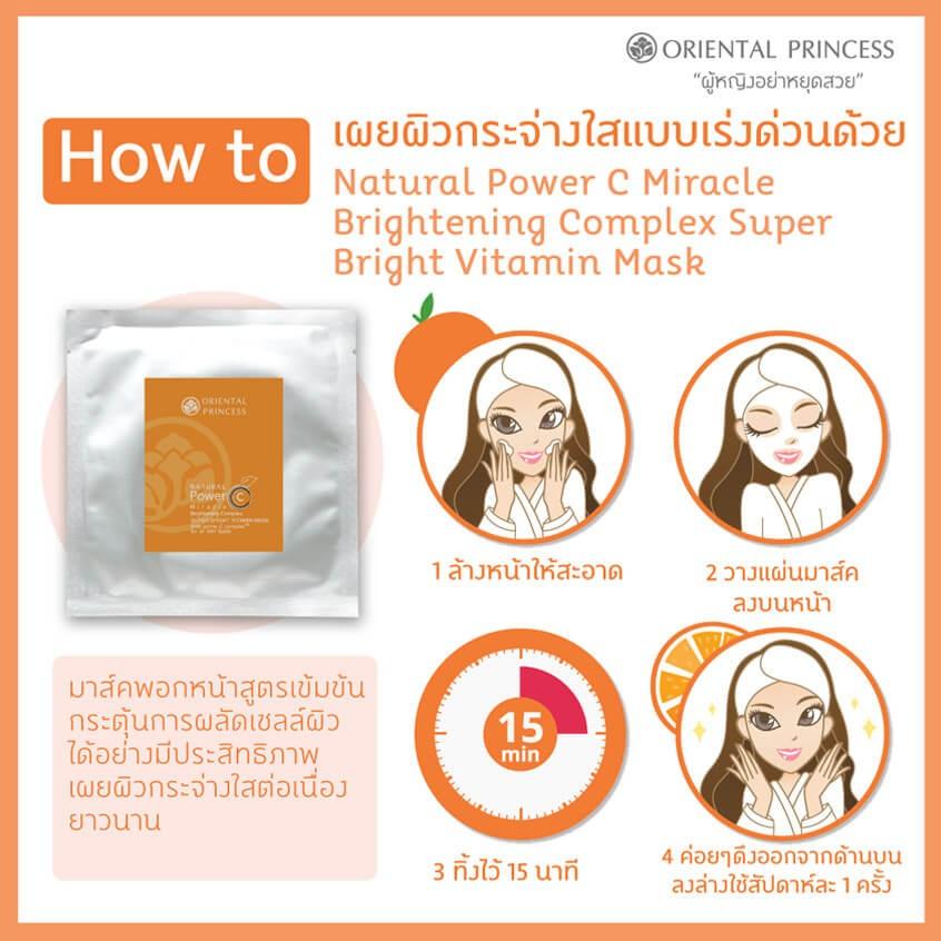เผยผิวกระจ่างใสแบบเร่งด่วนด้วย Natural Power C Miracle Brightening Complex Super Bright Vitamin Mask